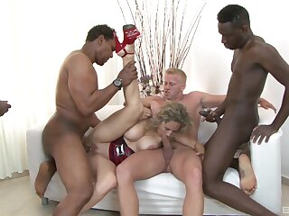 Three eager, well-hung gents gangbang mature slut Amelie