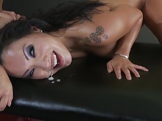 Asian woman stands nude and endures brutal sex with the masseur