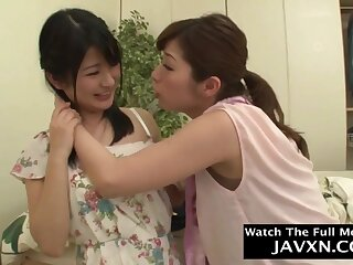 Libidinous Japanese lesbians amateur mating videotape