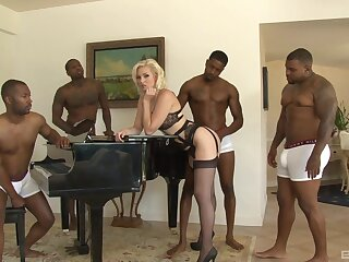 This blonde beauty is faced with her first webcam gangbang play