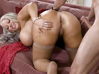 Alura Jenson's asshole is being filled with a firm cock on the couch