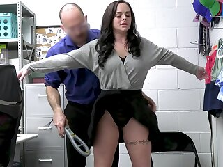 Busty thief Macey Jade gets fucked hard on get under one's office table