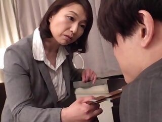 Powered fit together Tokita Kozue moans while riding the brush hubby's gumshoe