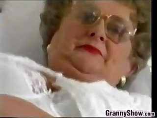 Chubby Granny With Glasses Masturbates