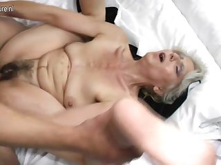 Hairy grandma hard fucked by young lover