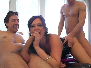 MILF deals two big cocks up a smashing threesome