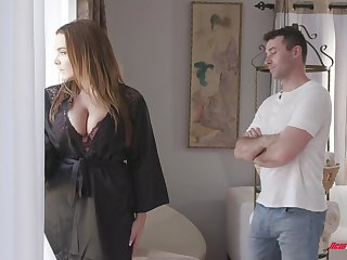 Awesome super huge boobed bitch Natasha Nice treats guy with a titjob