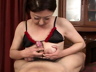 Japanese in lingerie kitchen garden POV guy