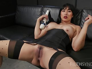 Asian complain sticks expansive toys in both holes during a rare solo