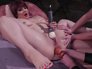 Lesbians Casey Calvert and Leya Falcon please their pussies with sex toys