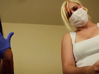 POV Double handjob Alexis Well forth and Fifi Foxx dental assistants fog and gloves