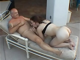 She masturbates at the poolside, the old neighbopur comes to fuck her hard