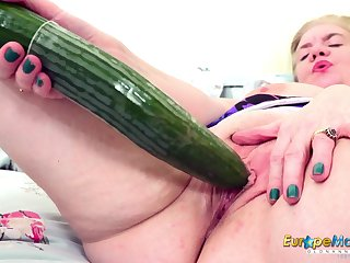 Some big ass cucumber be beneficial to an old woman's vitalized pussy