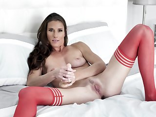 Needy woman in in flames stockings, first webcam pussy gut