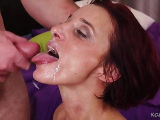 Mature drab Estella Banks gets massive facial cumshot after good fuck