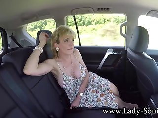 Lady Sonia masturbates in the backseat of a motor