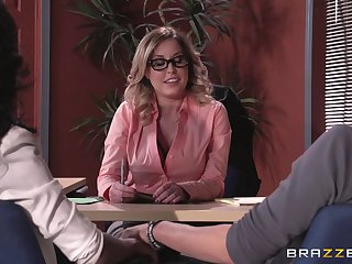 Underthings wearing boss lady Payton West fucked on the office provisions