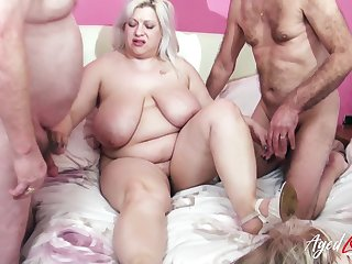 Fucking and wet mature holes drilling around busty sufficiently aged ladies video