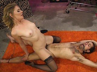 Mature blonde Mistress Mona Wales works her fine on a male sub