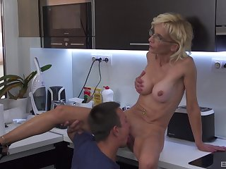 Sweet aunt sucks nephew and lets him fuck her pussy