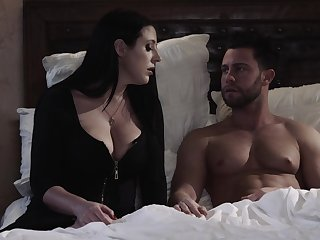 Fabulous big breasted wifey Angela White rubs clit while gender cleric