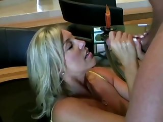 Lusty ash-blonde mom with tremendous boobies is inhaling lollipop while getting out of reach of all fours out of reach of slay rub elbows with floor and getting screwed