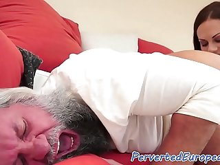Fetish babe fingers and licks old mans ass