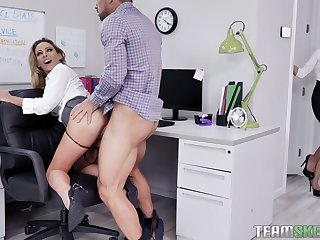 Office antics include FFM fucking with Isabelle Deltore increased by Isabella Nice