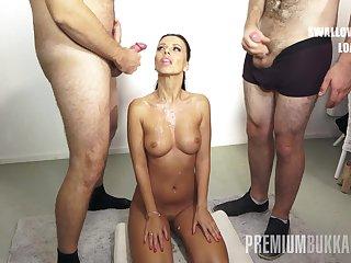 PremiumBukkake - Vicky Love swallows 17 boastfully mouthful cumshots