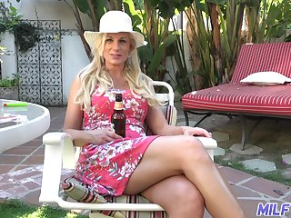 Hot and wild busty tow-headed MILF Charlie Daniels cannot get suited from doggy