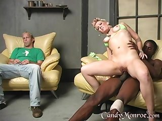 Interracial fucking on touching front of a cuckold husband - Candy Monroe