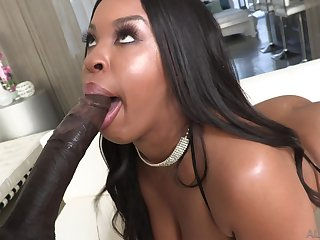 Nonconformist black babe Aryana Adin makes her takings bounce in excess of fat BBC