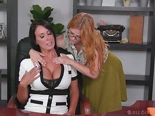 Lesbian accessary seduces seduces bossy cougar Penny Pax plus licks her pussy on the table
