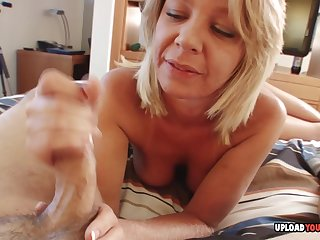 Attracting blonde teacher helps with a handjob