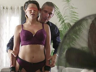 Sexy Alix Lovell blindfolded during a sizzling interlude