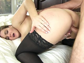 Tight amateur with big tits, serious doggy drilling in bed