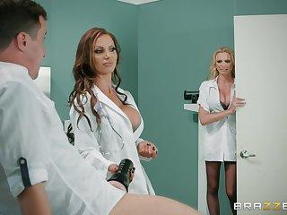 Premium nurses are enjoying a pretty big dick in a hot triumvirate