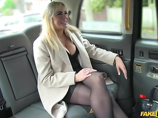 Hardcore fucking in the near of the fake hansom cab beside a busty blondie